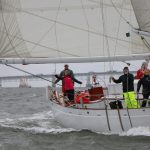 The Schooner racing on a windy rainy day in the Chesapeake