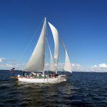 Schooner under full sail on a blue and windy day