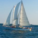 Sailing under full sails with many guests on board
