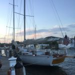 Schooner tucked in for the night at the dock