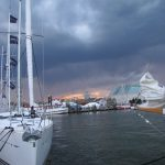 Storm clouds passing over the Annapolis Harbor