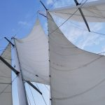 Looking through the sails into blue skies with clouds