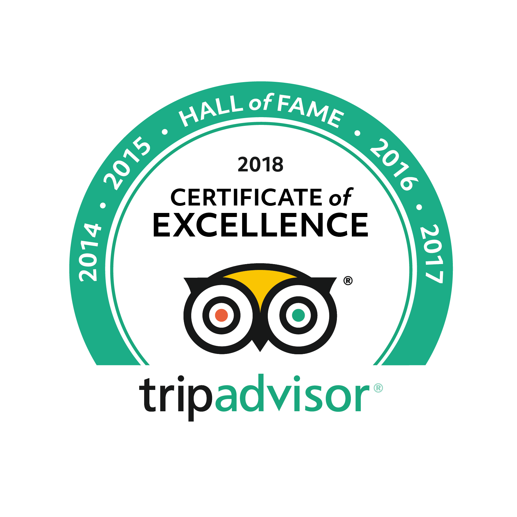 2014-2017 Hall of Fame 2018 Certificate of Excellence tripadvisor