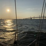 View of the Bay Bridge in the sun from the boat