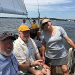 Enjoying sail with friends on the schooner