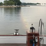 Calm water and beautiful view of the Naval Academy from onboard