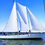 Schooner sailing in bright blue water and skies with guests on board