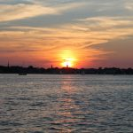 Sunset framing Annapolis skyline from the water