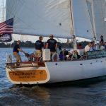 The crew on Woodwind II preparing to race on Wednesday night
