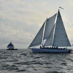Sailing past The Thomas Point Shoal Lighthouse