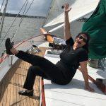 Schooner guest showing joy in sailing