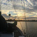 Sun shining through the rigging of the schooner