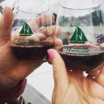 Two hands toasting red wine in glasses