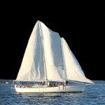 Schooner sailing against dark sky