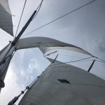 Looking up through the sails on a cloudy day