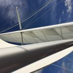 Looking up through white sails into a Blue sky
