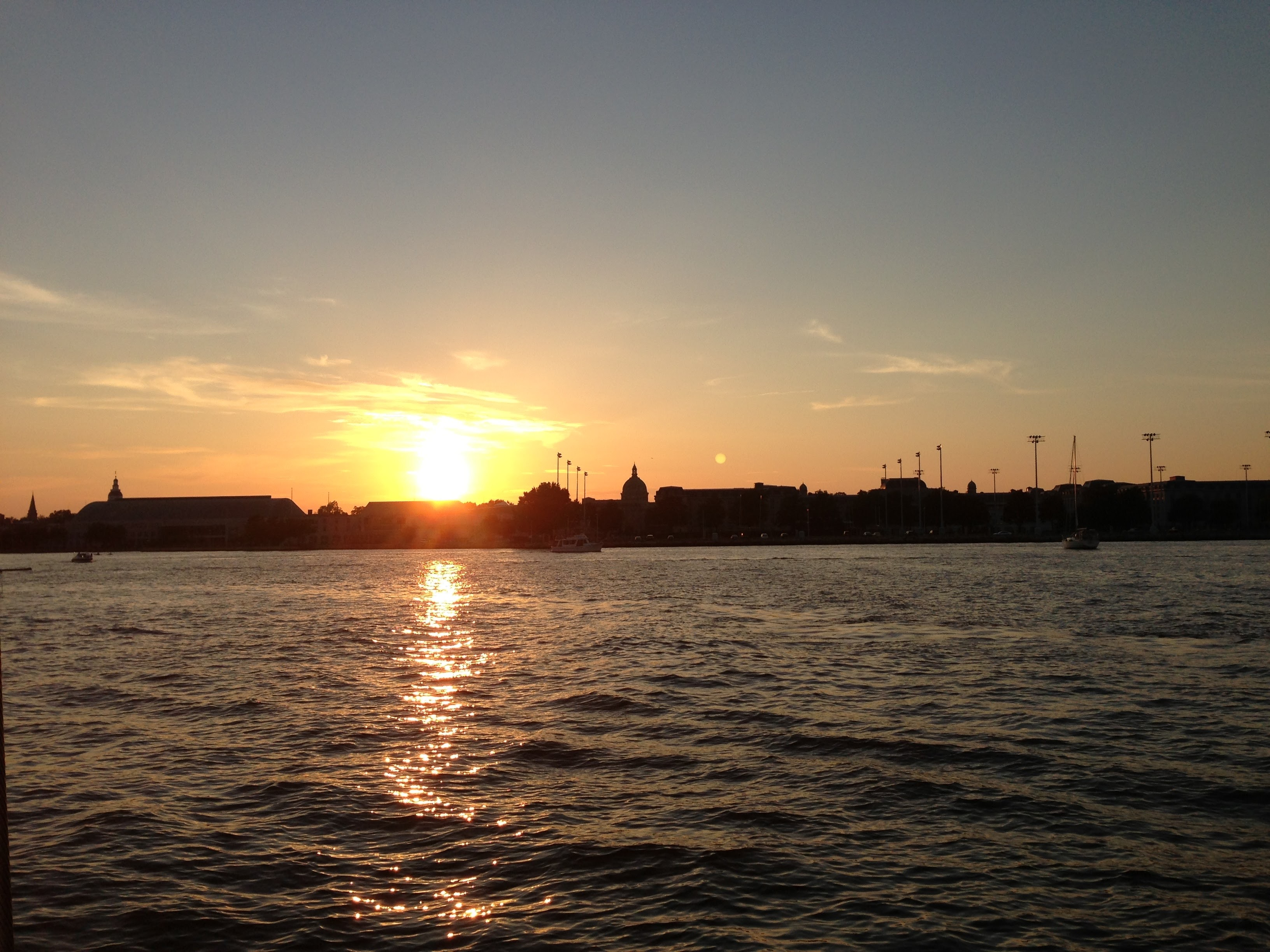 Sunset over the USNA Academy taken from the water