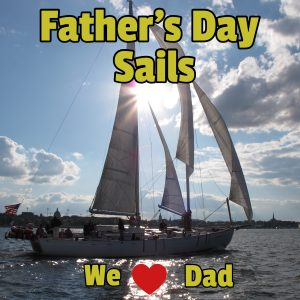 """Woodwind Sailing and the words """"Father's Day Sails, We (heart) Dad"""" superimposed on the image"""